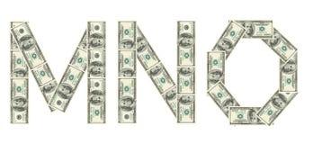 Letras M, N, O hecho de dólares Foto de archivo libre de regalías