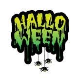 Letras manuscritas con sangre que fluye, arañas del feliz Halloween ilustración del vector