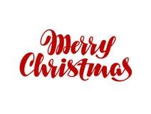 Letras manuscritas de la Feliz Navidad Elemento de la caligrafía del vector para la tarjeta de Navidad del diseño Fotografía de archivo libre de regalías
