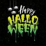 Letras manuscritas del feliz Halloween con sangre que fluye con la araña ilustración del vector