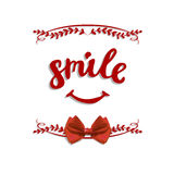 Letras manuscritas del VECTOR del ` de la sonrisa del ` con el arco Fotografía de archivo libre de regalías
