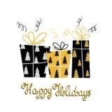 Letras manuscritas y regalos del día de fiesta único feliz de los días de fiesta Tarjeta de felicitación moderna del invierno con Imágenes de archivo libres de regalías