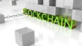 Letras metálicas verdes gordas que mostram o surrounde do blockchain da palavra Fotografia de Stock