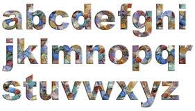 Letras minúsculas de Crystal Tumbled Stones Alphabet Imagen de archivo libre de regalías