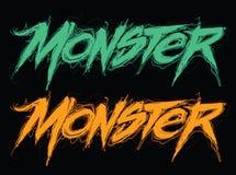 Letras modernas manuscritas del monstruo stock de ilustración