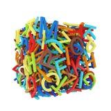 Letras multicoloras al azar que forman un cubo stock de ilustración