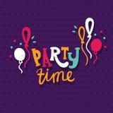 Letras multicoloras brillantes Party el tiempo Balones de aire Cumpleaños, día de fiesta, alegría libre illustration