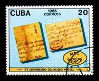 Letras, museu postal, 20o serie do aniversário, cerca de 1985 Imagens de Stock