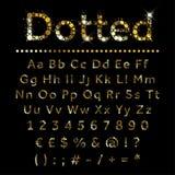 Letras, números e sinais ajustados pontilhados ouro do alfabeto do metal ilustração royalty free