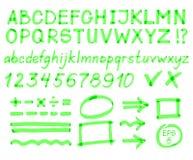 Letras, números, setas, símbolos matemáticos, linhas, escritas no marcador vermelho Vetor ilustração royalty free