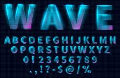 Letras, números y símbolos del holograma de HUD ilustración del vector