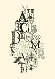 Letras negras del alfabeto Fotos de archivo