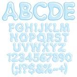 Letras, números e símbolos da água Imagens de Stock Royalty Free