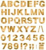 Letras o fuente de oro o de cobre amarillo del alfabeto del metal Fotos de archivo libres de regalías
