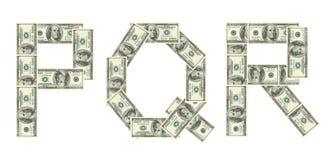 Letras P, Q, R hecho de dólares Imágenes de archivo libres de regalías