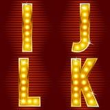 Letras para sinais com lâmpadas ilustração stock