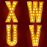 Letras para sinais com lâmpadas Foto de Stock