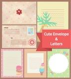 Letras pasteis do vintage bonito e templa dos artigos de papelaria de papel de envelope ilustração do vetor