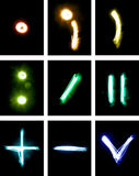 Letras pintadas com luz Fotos de Stock