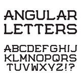 Letras principais angulares pretas Fonte à moda alph latin Fotos de Stock Royalty Free