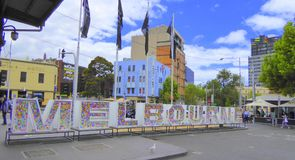 Letras que deletrean Melbourne foto de archivo
