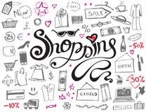 Letras que hacen compras dibujadas mano con los iconos del garabato stock de ilustración