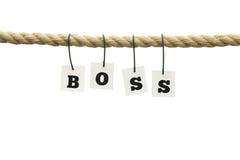 Letras que soletram - chefe - a suspensão em cartões pequenos Imagem de Stock Royalty Free