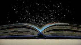 Letras que voam fora de um livro aberto ilustração stock