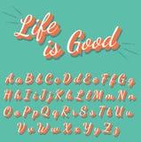 Letras retras de la caligrafía fijadas Foto de archivo libre de regalías