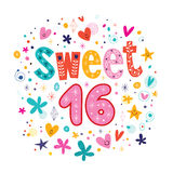 Letras retras decorativas de la tipografía del texto del dulce dieciséis Fotos de archivo libres de regalías