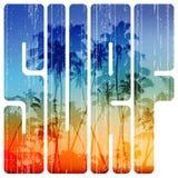 Letras retros da ressaca do verão com opinião da praia para dentro ilustração do vetor