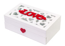 Letras rojas de los corazones blancos de la caja del amor aisladas Foto de archivo libre de regalías