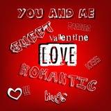 Letras románticas de las palabras de la tarjeta del día de San Valentín Imágenes de archivo libres de regalías