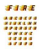 Letras running de queimadura com chama Alfabeto quente da fonte de vetor do fogo para o carro de competência ilustração royalty free