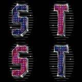Letras S, T del volumen con los rhinestones brillantes Imagen de archivo