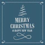 Letras sribble de la Feliz Navidad y de la Feliz Año Nuevo en estilo retro con las curvas y el árbol de navidad decorativos con l ilustración del vector