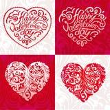 Letras tipográficas felices de día de San Valentín en fondo rosado con el ejemplo blanco del vector del corazón stock de ilustración