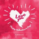 Letras tipográficas felices de día de San Valentín en fondo rosado con el ejemplo blanco del vector del corazón libre illustration