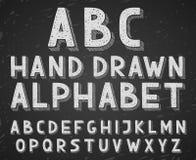 Letras tiradas mão do alfabeto do esboço da garatuja do vetor Foto de Stock