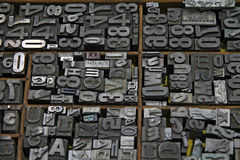 Letras typesetting do metal foto de stock