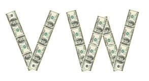 Letras V, W feito dos dólares Fotografia de Stock