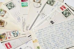 Letras velhas, cartão franceses vintage nostálgico imagem de stock