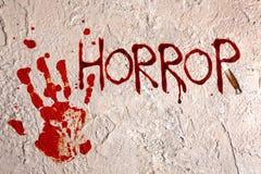 Letras velhas da parede e do horror Fotografia de Stock