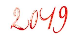 2019, letras vermelhas brilhantes elegantes do metal 3D isoladas no fundo branco ilustração royalty free