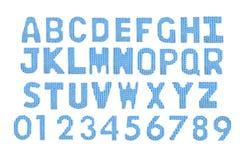Letras y alfabeto inglés de los números Azul del color Imágenes de archivo libres de regalías