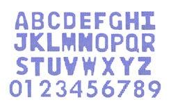 Letras y alfabeto inglés de los números Color azul marino Fotografía de archivo