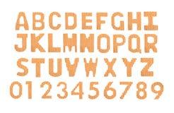 Letras y alfabeto inglés de los números Naranja del color Imágenes de archivo libres de regalías