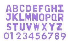Letras y alfabeto inglés de los números Púrpura del color Imágenes de archivo libres de regalías