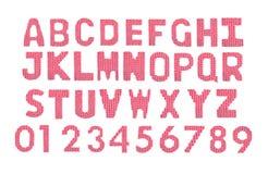 Letras y alfabeto inglés de los números Rojo del color Imagen de archivo libre de regalías