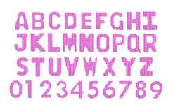 Letras y alfabeto inglés de los números Rosa del color Fotografía de archivo